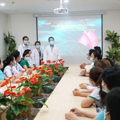 Diễn tập phòng chống Covid tại Bệnh viện Mắt Quốc tế Hoàn Mỹ